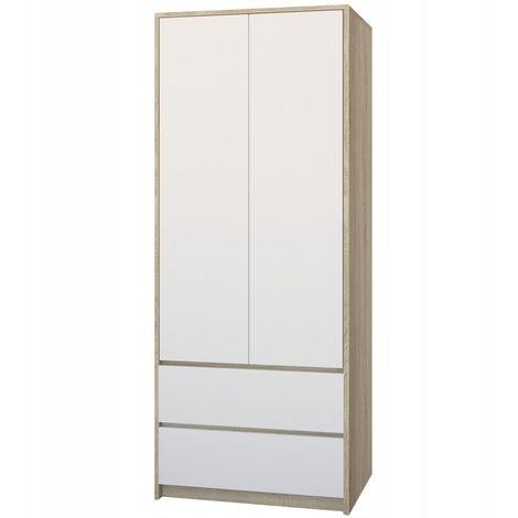 BRISTOL - Armoire moderne chambre 63x55x180 cm - Penderie multifonction bureau - 2 portes/2 tiroirs - Meuble de rangement - Sonoma/Blanc