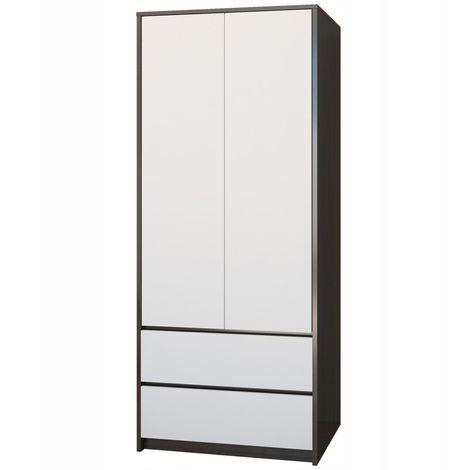 BRISTOL - Armoire moderne chambre bureau 63x55x180 cm - Penderie multifonction - 2 tiroirs - Meuble de rangement - Dressing - Wenge/Blanc