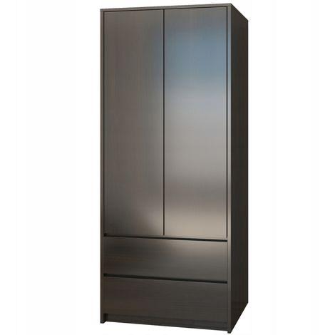 BRISTOL | Armoire moderne chambre bureau 63x55x180 | Penderie multifonction | 2 portes/2 tiroirs | Meuble Vestiaire | Dressing | Wenge