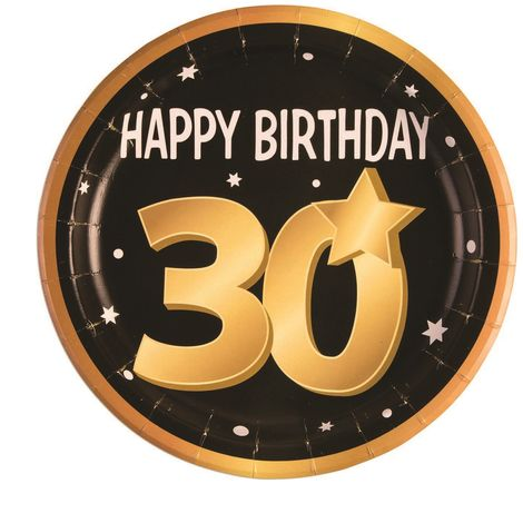 Bristol Novelty 30th Birthday Paper Plates (Pack Of 8) (One Size) (Black/Gold/White)
