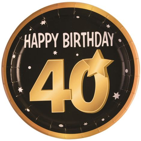 Bristol Novelty 40th Birthday Paper Plates (Pack Of 8) (One Size) (Black/Gold/White)