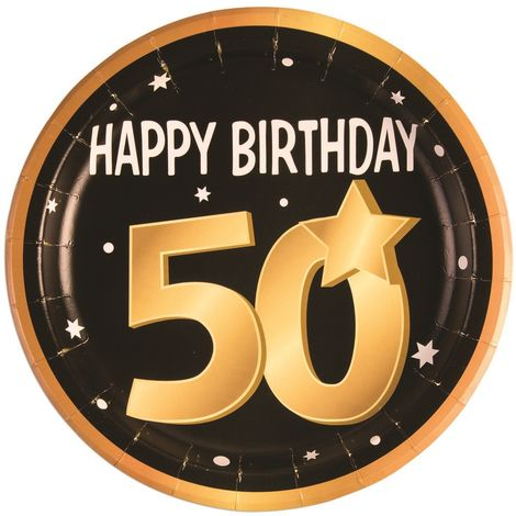 Bristol Novelty 50th Birthday Paper Plates (Pack Of 8) (One Size) (Black/Gold/White)