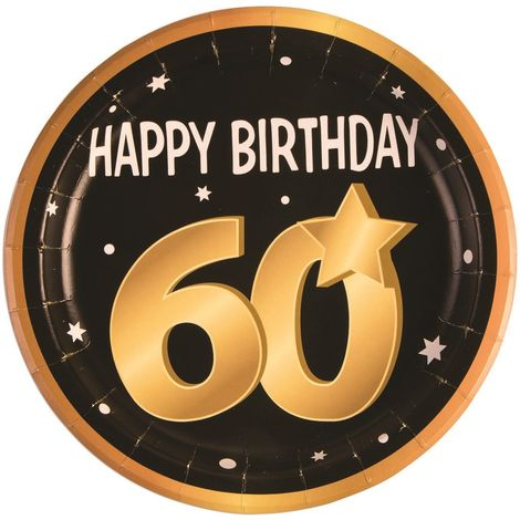 Bristol Novelty 60th Birthday Paper Plates (Pack Of 8) (One Size) (Black/Gold/White)