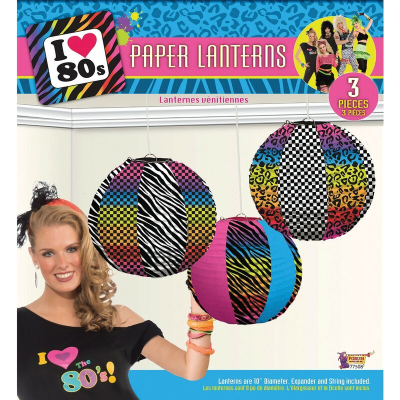 Image of 80s Paper Lanterns (Pack Of 3) (One Size) (Multicoloured) - Bristol Novelty