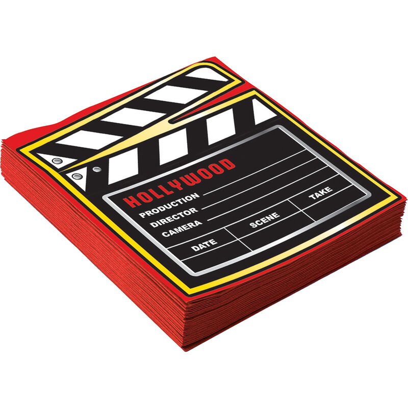 Image of At the Movies Napkin (Pack of 16) (Large) (Red/Black) - Bristol Novelty