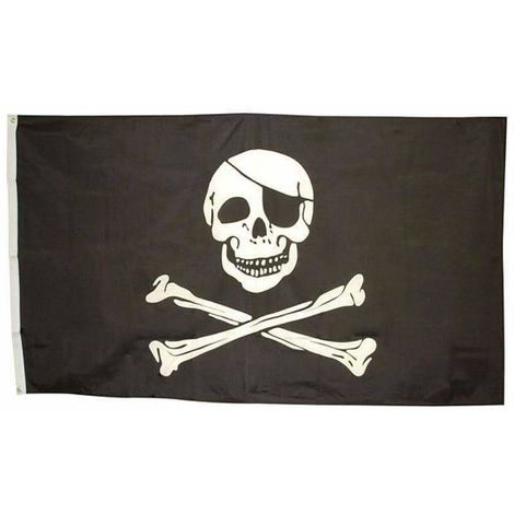 Bristol Novelty Pirate Skull Flag (One Size) (Black/White)