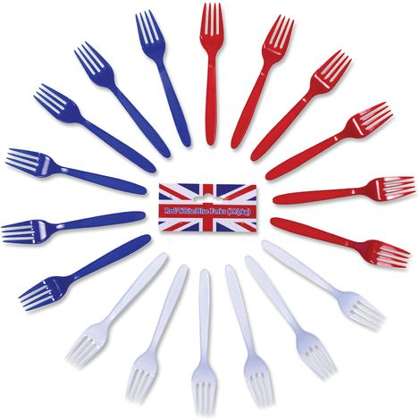 Bristol Novelty Plastic Forks (Pack Of 18) (One Size) (Red/White/Blue)