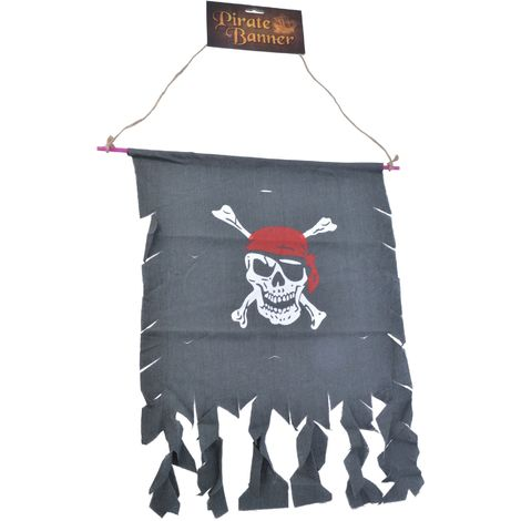 Bristol Novelty Skull And Crossbones Distressed Pirate Banner (One Size) (Dark Grey/White/Red)