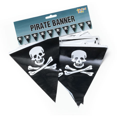 Bristol Novelty Skull And Crossbones Pirate Banner Bunting (7m) (Black/White)