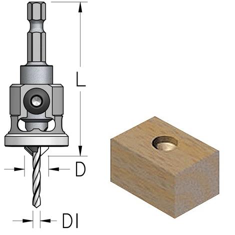 Broca de avellanar de 2.5x9.5 mm con tope de profundidad de Nylon WPW