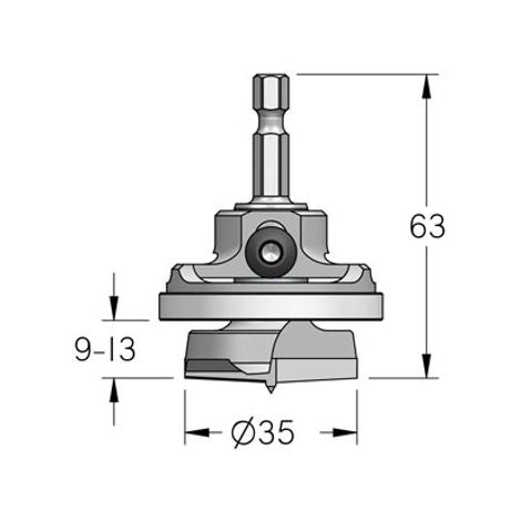Broca de bisagras de 35 mm con tope ajustable de profundidad WPW
