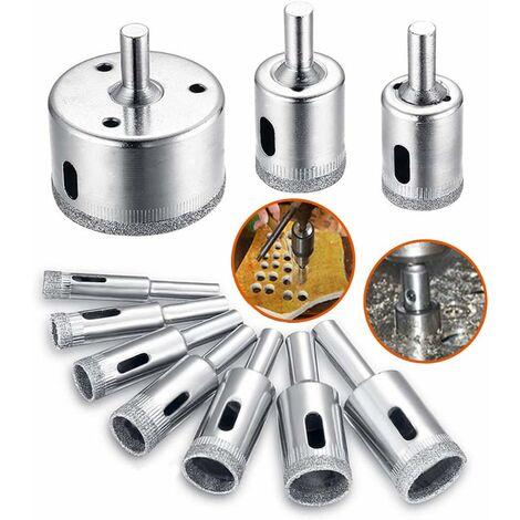 Broca de diamante LITZEE de 10 piezas (6-50 mm), sierras de corona AHS02C, material de broca de acero al carbono para vidrio, cerámica, porcelana, mármol, baldosas y granito