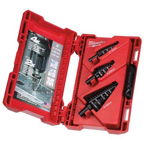 Broca escalonada kit de 3 unidades4 a 12mm - paso de 1mm4 a 20mm - paso de 2mm6 a 35mm - paso de 2 y 3mm 48899399