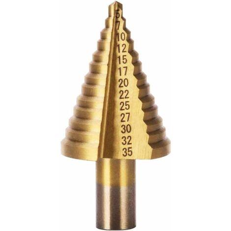 Broca escalonada LITZEE HSS, broca escalonada avellanada (5 mm-35 mm), triangular cónica de titanio con revestimiento de titanio, para taladro de destornillador en acero, latón, madera, plástico