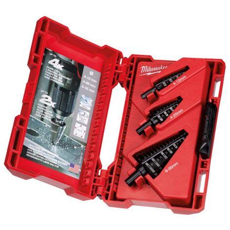Broca escalonada Shockwave™ kit de 3 unidades4 a 12mm - paso de 1mm4 a 20mm - paso de 2mm4 a 30mm - paso de 2 y 3mm 488992