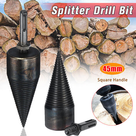 Broca helicoidal de alta velocidad de 45 mm, conos de tornillo separadores de madera, división de acero negro (mango cuadrado)