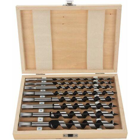 Broca helicoidal para madera LITZEE HSS, juego de 8 piezas Broca helicoidal de acero al carbono para madera con una longitud de 230 mm, diámetro 6 mm 8 mm 10 mm 12 mm 14 mm 16 mm 18 mm 20 mm 26 x 20 x 5 cm