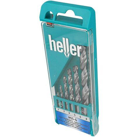 Broca Metal Rectificada Hss Din338 Juego 06Pz 02-08 Mm Acero Heller