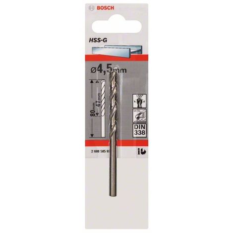 Broca para metal HSS-G, DIN 338 4,5 x 47 x 80 mm BOSCH