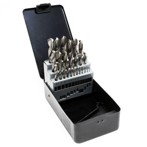Brocas espiral HSS-G Set 25 piezas Juego barrenas metal madera 1-13mm Universales Taladrar Perforar