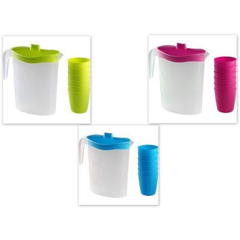 Pavimento In Plastica Per Campeggio.Brocca Caraffa In Plastica Con 6 Bicchieri Per Campeggio Cucina