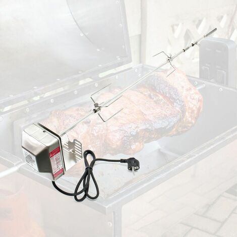brochettes BBQ Grill 97cm en acier inoxydable avec deux pinces viande Rotisserie