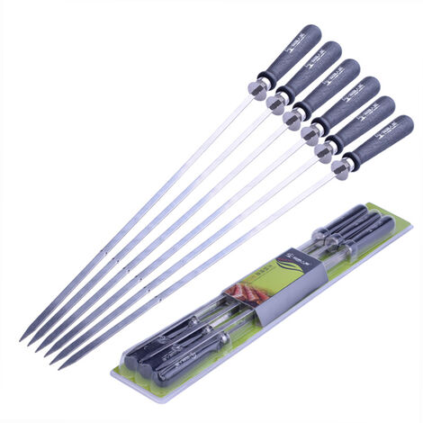 Brochettes de barbecue en acier inoxydable avec manche en bois Ensemble de brochettes retractables MKC52T