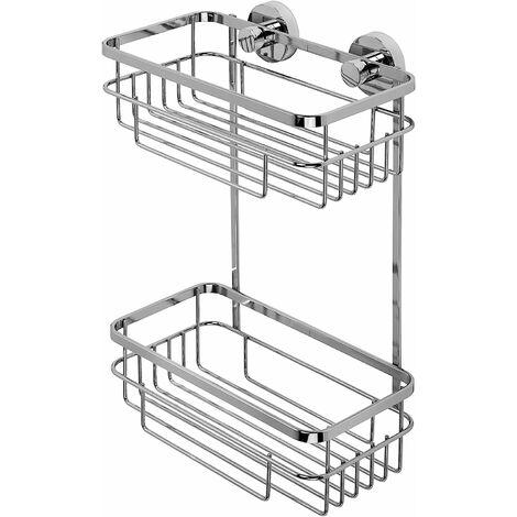 Croydex Rust Free Brockham Flexi-Fix Two Tier Bathroom Storage Cosmetic Shower Basket Caddy, Chrome