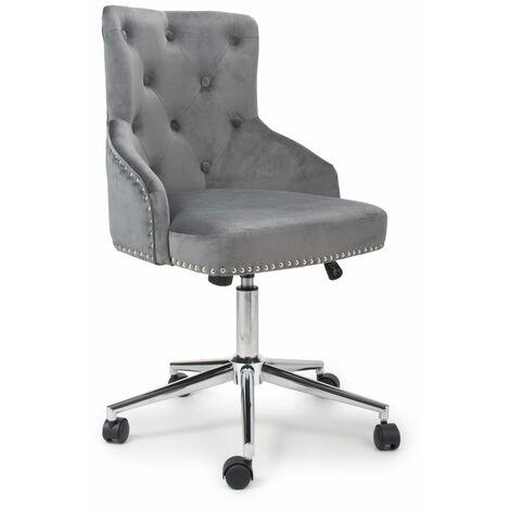 Bronco Brushed Velvet Grey Office Chair