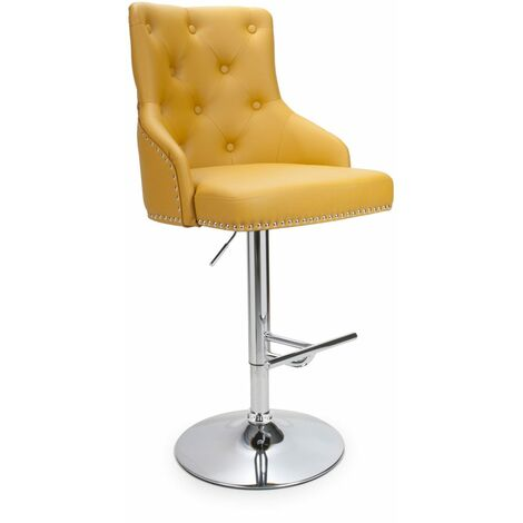"""main image of """"Bronco Leather Effect Yellow Bar Stool"""""""
