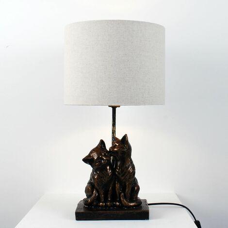 """main image of """"Bronze Resin Kissing Cats Lamp"""""""