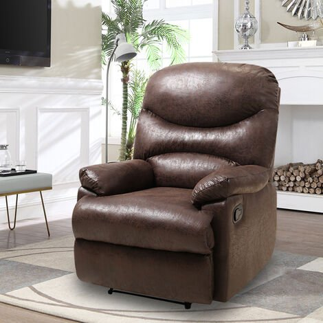Bronzing Leather Recliner Sofa Adjustable Reclining Armchair, Brown