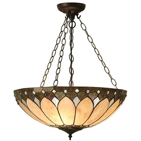 Brooklyn Large Inverted 3Lt Ceiling Pendant Tiffany Style Stained Glass Shade