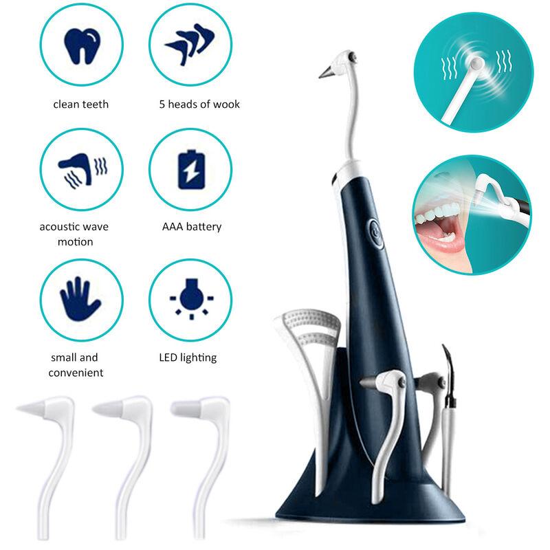 Brosse A Dents Dentaire A Ondes Acoustiques Electriques Nettoyeur De Dents A Vibration 5 Vitesses 4 Modes De Travail Avec Detartreur De Lumiere Led