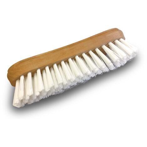 Brosse à laver et récurer PPL blanc - Monture bois - Nettoyage, brossage pont mur sol carrelage - Quantité x10 - PPL blanc