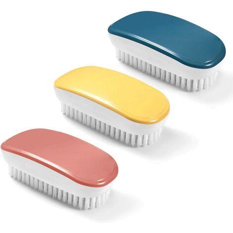Brosse à linge douce, Brosse à linge, Outil de brosse de nettoyage à main coloré 3 pièces pour vêtements, chaussures, tapis, évier de cuisine, baignoire de salle de bain (jaune, rouge, bleu)