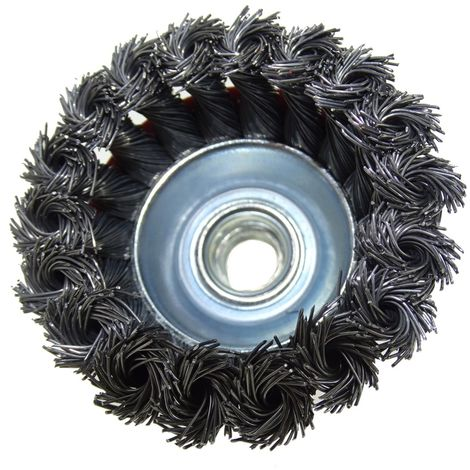 Brosse boisseau fil d'acier torsadé D75 M14 pour meuleuse