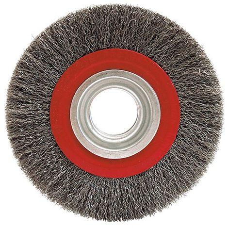 """main image of """"Brosse circulaire fil acier ondulé pour touret 0,30 mm D. 125 mm Al. 16 mm Ep. 20 mm pour métal - Décapage dur - 410.12"""""""
