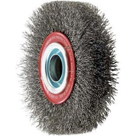 Brosse circulaire, fil d'acier de 0,3 mm, ondulé, Ø de la brosse : 150 mm, Epaisseur du fil 0,30 mm, Larg. : de travail 30 mm, Vitesse maxi. : 6000 tr/mn
