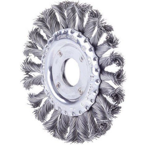 Brosse circulaire, fil d'acier trempé, torsadé, Ø de la brosse : 115 mm, Epaisseur du fil 0,50 mm, Larg. : de travail 12 mm, Vitesse maxi. : 12500 tr/mn