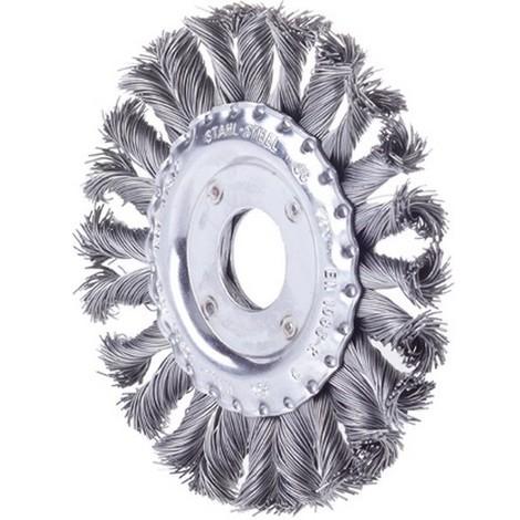 Brosse circulaire, fil d'acier trempé, torsadé, Ø de la brosse : 125 mm, Epaisseur du fil 0,50 mm, Larg. : de travail 13 mm, Vitesse maxi. : 12500 tr/mn