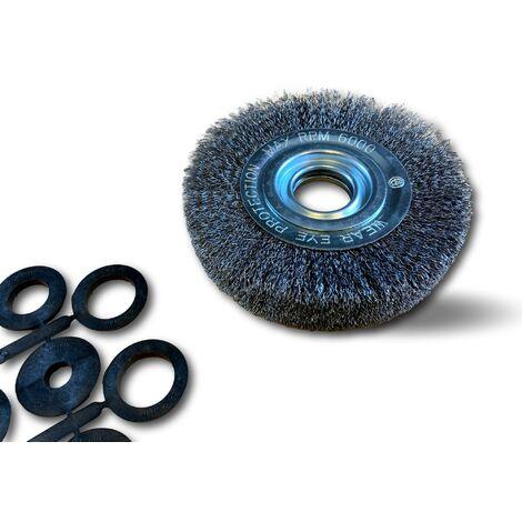 Brosse circulaire métallique à alésage pour touret meuleuse établi banc | Réducteur adaptateur - Ø 150 mm - Laiton