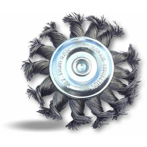 Brosse circulaire métallique plate à mèches torsadées pour perceuse - Lot de 3 - Ø100 mm - Fil dur - Mèches torsadée