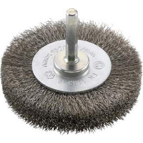 Brosse circulaire pour outils, fil d'acier inoxydable, ondulé, Ø de la brosse : 30 mm, Epaisseur du fil 0,20 mm, Larg. : de travail 9 mm