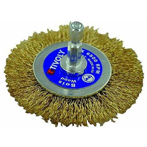 BROSSE CIRCULAIRE TECHNIC TIVOLY fil acier laitonné - décapage du bois, laiton, cuivre 70 pour perceuse
