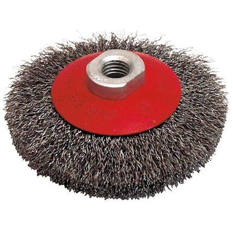 Brosse cuvette pour meuleuse fil acier ondulé 0,30 mm D. 115 mm M14 pour métal - Décapage dur - 520.115 - Leman