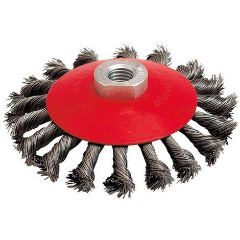 Brosse cuvette pour meuleuse fil acier torsadé 0,35 mm D. 115 mm M14 pour métal - Décapage extra dur - 510.535 - Leman