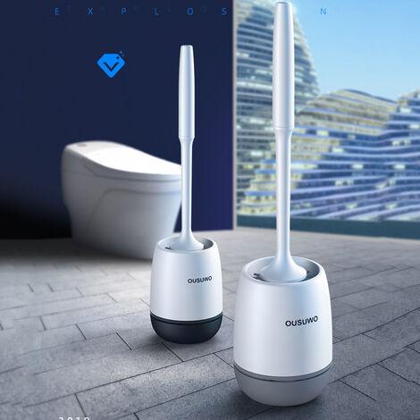 Brosse de nettoyage de base de brosse de toilette en silicone à poils souples, ensemble de salle de bain WC, support mural gris gris Mural