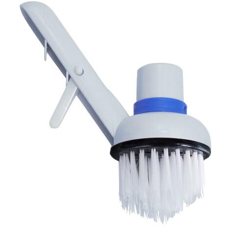 Brosse de nettoyage de piscine, PVC blanc, se connecte au tuyau d'aspiration 1,5 pouces, la poignee se connecte au poteau de diametre du tuyau de 30 mm