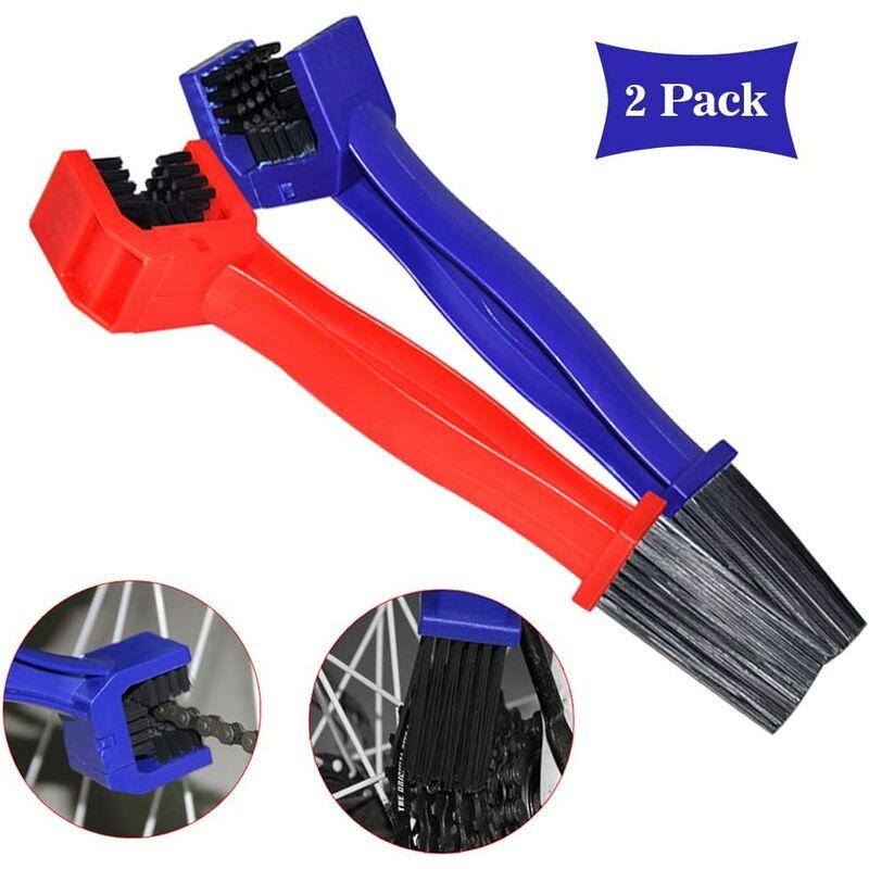 Bearsu - Brosse de Nettoyage pour chaîne de vélo Rouge et Bleu